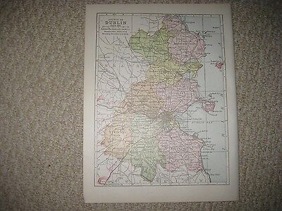Superb Antique 1900 County Dublin Ireland Map Fingal Rathdown Detailed Rare Nr