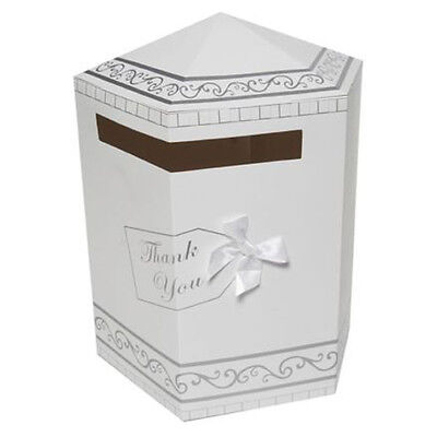 """Wedding Card Box - White and Silver with White Bow """"Thank You""""."""