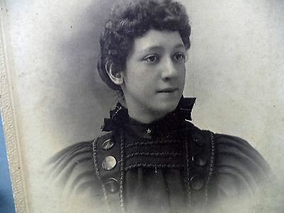 Antique B&W Photo Lady Wearing High Collared Dark Dress Floral Pin Large Buttons