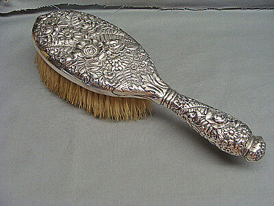 Fine Antique Tiffany & Co. Sterling Silver Floral Rose Repousse Vanity Brush
