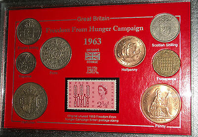 The Freedom From Hunger Campaign Coin & Stamp Collection Display Gift Set 1963
