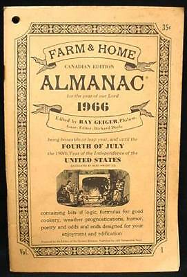 FARM HOME ALMANAC 1966 Recipes Weather Canadian Edition