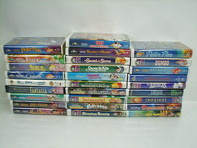 Lot of 27 Disney VHS Tapes Black Diamond Collector's Aladdin Pocahontas Fantasia