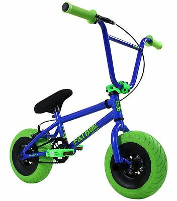 "2017 FatBoy Assault Mini 10"" BMX Bicycle Freestyle Tire Bike Fat Boy Blue Green"