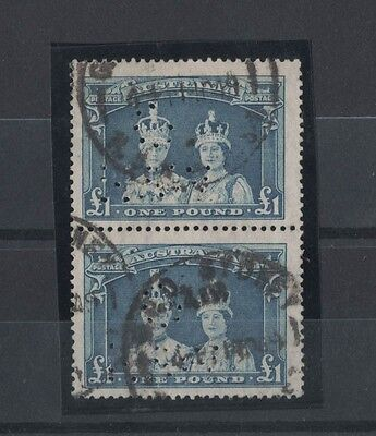 1949 Australia Robes £1 slate SG 178a thin pap. G NSW perf.in vertical rare pair
