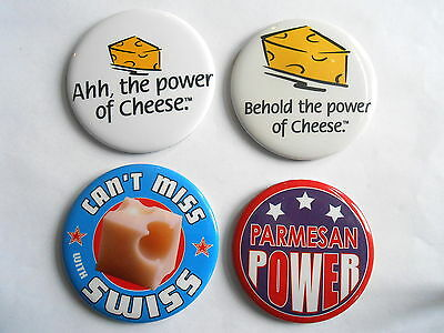 Cool Vintage Lot 4 Cheese Promo Advertising Pinbacks Power of Parm Power Swiss