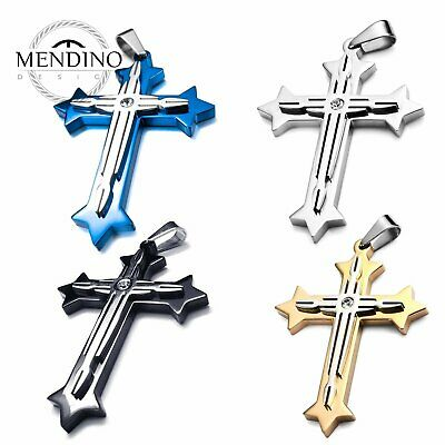 MENDINO Men's Stainless Steel Pendant Necklace Hollow Crucifix CZ Cross Polished