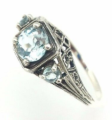 Ring with Blue Topaz 925 Silver Antique Style Various Sizes Sterling Silver