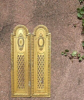 Pair of ANTIQUE FABULOUS FRENCH Brass CHATEAU Finger plates LOUIS XVI