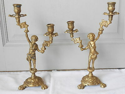 Pair OLD French BRONZE CANDLESTICKS / CHERUBS ANGELS PUTTI  2 arms