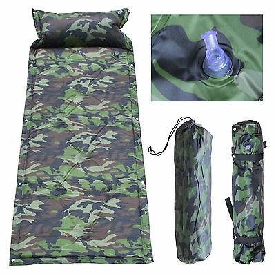 Self Inflating Camping Roll Mat/Pad Sleeping Bed Inflatable Pillow Mattress +Bag