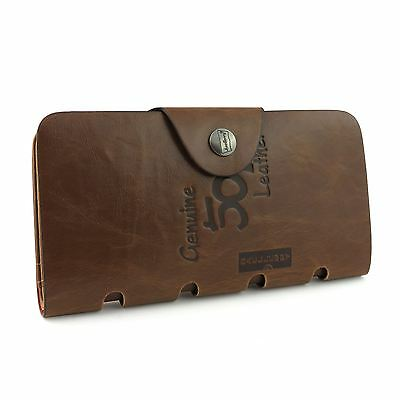 Mens Long Luxury Soft Leather Wallet Credit Card Holder ID Brown Quality New UK