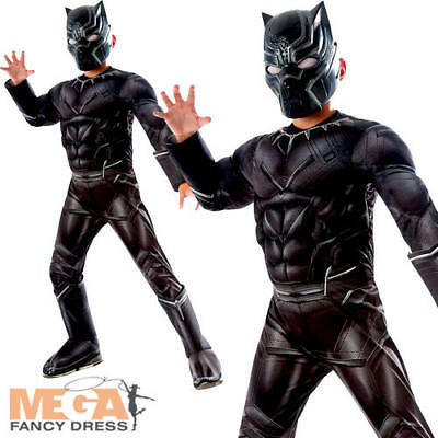 Deluxe Black Panther Boys Superhero Fancy Dress Childrens Childs Kids Costume