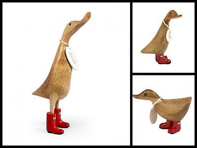 DCUK Wooden Duck Ornament Mantle Piece Decoration Red Solid Wellies