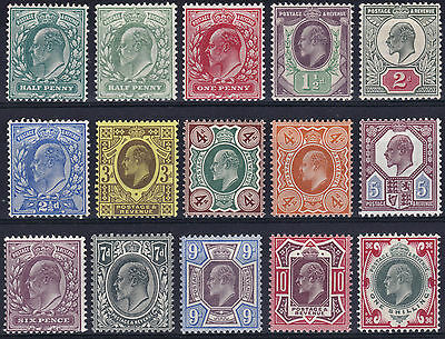 1902/13 Edward Vii Very Fine Mint Hinged Set Of 15 Mixed Printings