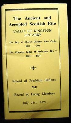 Scottish Rite Rose Sharon Chapter Croix Kingston Ont Booklet Vintage Masonic