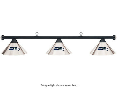 NFL Seattle Seahawks Chrome Shade & Black Bar Billiard Pool Table Light