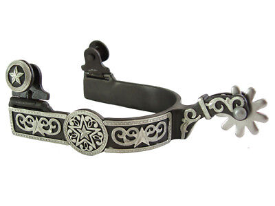 Western Show Spurs Hand Engraved Silver Floral Star Motif Antique Brown Ladies