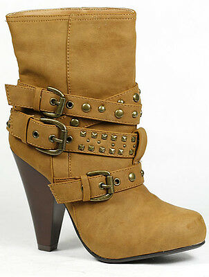 Chestnut Brown Faux Suede Buckle Strap Studded Fashion Ankle Bootie Boot 6.5 us