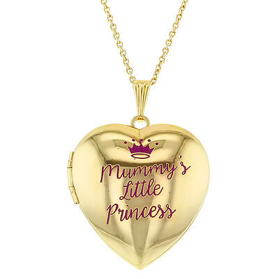 Mummy's Little Princess Crown Photo Pendant Heart Locket Necklace for Girls 16""