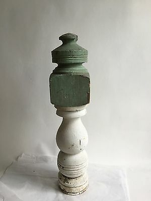 Antique 1890's Wood Victorian Shabby Porch Newel Post Green White Vintage