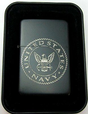 United States Navy Engraved Black Cigarette Lighter Tin Case LEN-0165