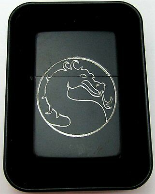 Mortal Kombat Dragon Engraved Black Cigarette Lighter With Case New LEN-0162