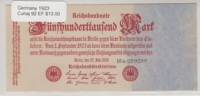1923 Germany, 500 Mark Reichsbanknote, Cuhaj 92, Extra Fine