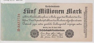 1923 Germany, five million Mark Reichsbanknote, Cuhaj 95, Extra Fine