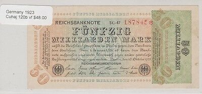 1923 Germany, Fifty million Mark Reichsbanknote, Cuhaj 120b, Very Fine
