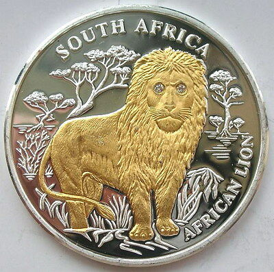 Liberia 2004 South Africa Lion 10 Dollars Silver Coin,Proof