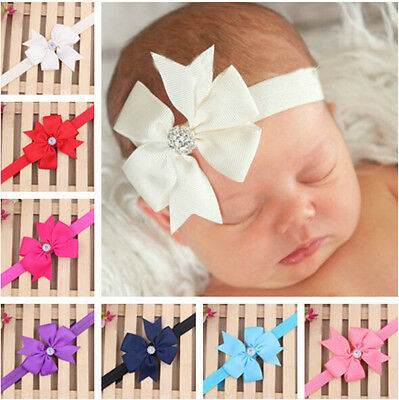 NT Newborn Baby Girls Headband Infant Toddler Bow Hair Band Accessories Photo