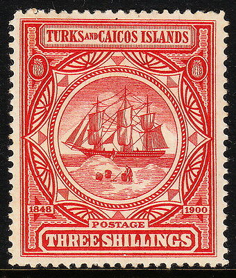 Turks And Caicos Islands — Scott 9 (Sg 109) — 3/- Badge — Mh — Scv $62.50