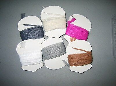 6 spools of Poly Yarn..Polypropylene yarn..6 colors..fly tying..COMBINE SHIPPING