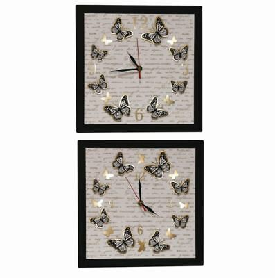Straits LED Butterfly 30cm Square Wooden Wall Clock 16759