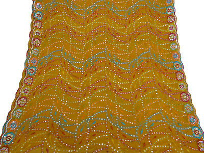 Vintage Dupatta Long Indian Scarf Embroidered Used Art Fabric Yellow Veil Stole