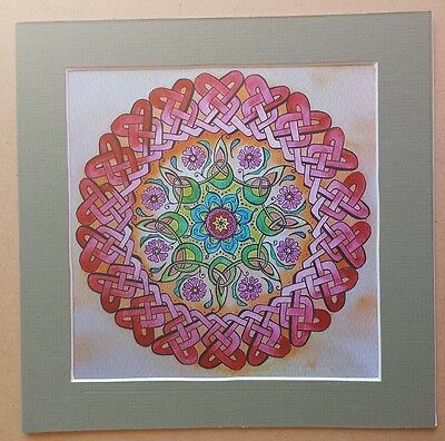 "Signed Matted Print Watercolor Flower Celtic Knot Mandala Knotwork 8"" Wall Art"