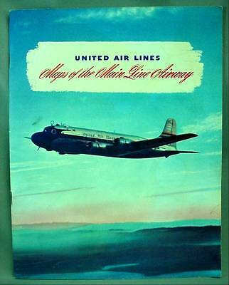 United Air Lines Maps of the Main Line Airway 1946 Color Schedule Book