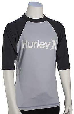 Hurley Boy's One & Only SS Rash Guard - Wolf Grey - New