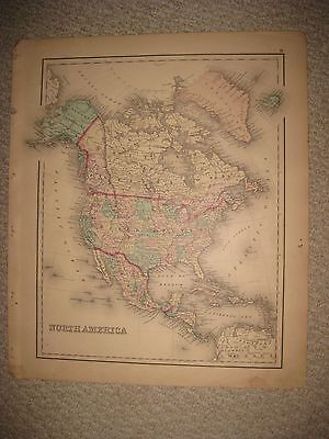 Large Fine Antique 1876 North America Handcolored Map Canada Mexico West Indies