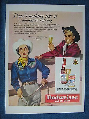 Cowboy & Cowgirl With Lasso - 1950 Budweiser Beer Ad - Lots of Happiness Here