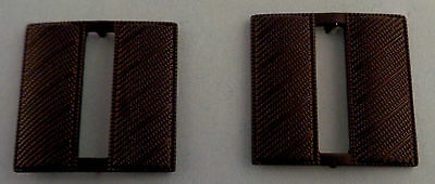 """CPT Capt Captain Bars Large 1"""" CORRUGATED SUBDUED BLACK Pair Collar Pins police"""