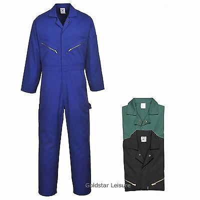 Portwest Cotton Coverall Boilersuit Zip Front Hammer Loop Garage Workwear C808