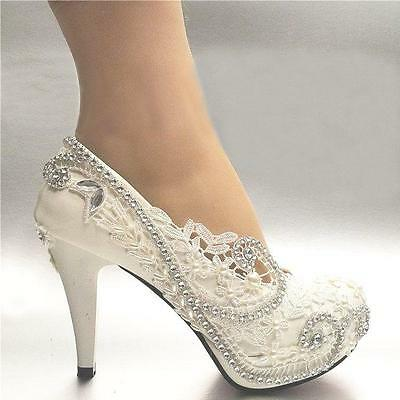 New White Ivory Womens Lace Bead Crystal Wedding Shoes Bridal Heel Sexy Pumps US