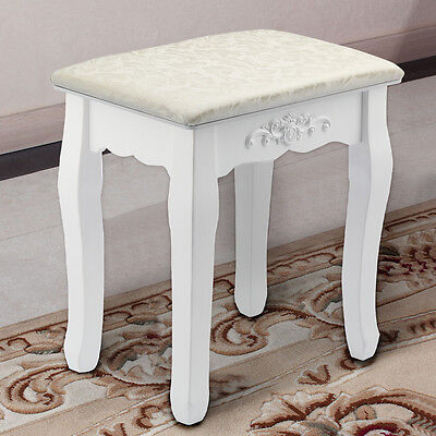 White Vintage Dressing Table Stool Padded Piano Chair Rest Makeup Seat Baroque