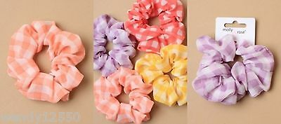 Pack Of 6 Bright Gingham Coloured Fabric Scrunchies / Hair Bobble - Sp-6008 Pk6