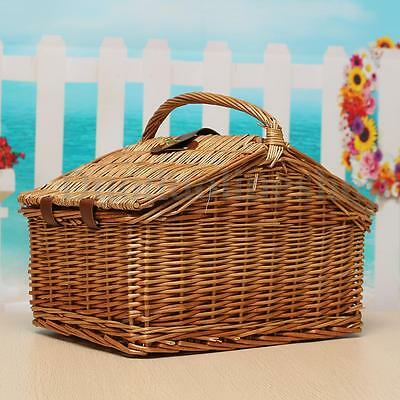 Retro Wicker Picnic Basket Hamper Outdoor Carry-on Handle Storage Baskets Gift