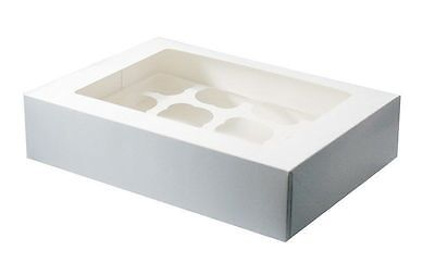 12 Cupcake box & insert with window x 10 pack  muffin box NEXT DAY DESPATCH