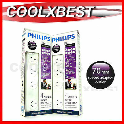 2 x PHILIPS 4 OUTLET SURGE PROTECTOR POWER BOARD EXTRA WIDE EMI FILTER TV PC AV