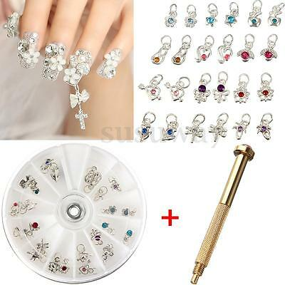 Carrousel 24X Bijoux Ongles Pendentif Dangle Strass 3D Piercing Foret Nail Art